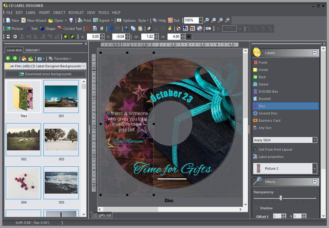 CD Label Designer screenshot: cd label, dvd label, designer, cd dvd label designer, jewel case, round, disk label, booklet, dvd box, sleeve, circled text, round text, export, cddb, freedb, template